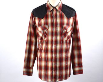 fd0a0915 Vintage Red and Black Plaid Western Shirt with Black Button Snaps by Plains Western  Wear, Size Large