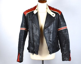 Black and Red Motorcycle Jacket by Fieldsheer, Made in England, U.S. Size 42