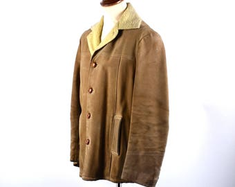 Rough and Rugged Leather and Shearling Jacket by Penny's Sports Outdoor Wear, Men's Size 38