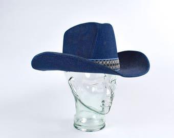 1970 s THE DUKE COLLECTION Denim Cowboy Hat 640bbaadcdb