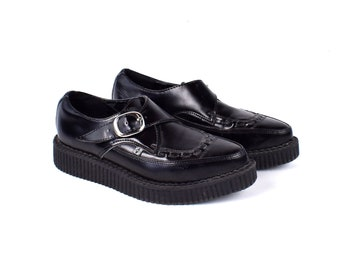 4ba5868f93e2 All Black Buckled Brothel Creepers by TUK