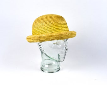 Yellow Straw Bowler Hat in Excellent Condition! dd357b0e7fd