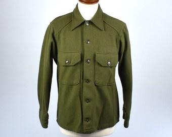 Green Wool Army Shirt, Size Medium
