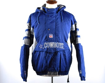 Vintage Dallas Cowboys Hooded Puffy Pullover Jacket - ProLine Authentic by  Starter 151541c8c