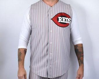 Cincinnati Reds Pinstripe  #14 Baseball Uniform, Size Large