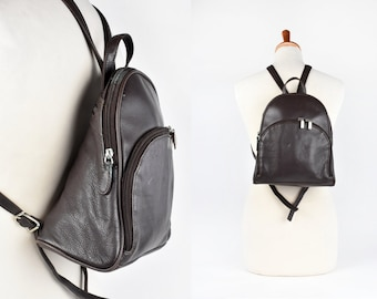 1caaa674dfc2 Compact Minimalist Dark Brown Leather Backpack