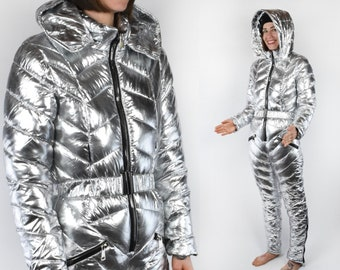 559de5a69 Sexy Silver Quilted Snow Suit