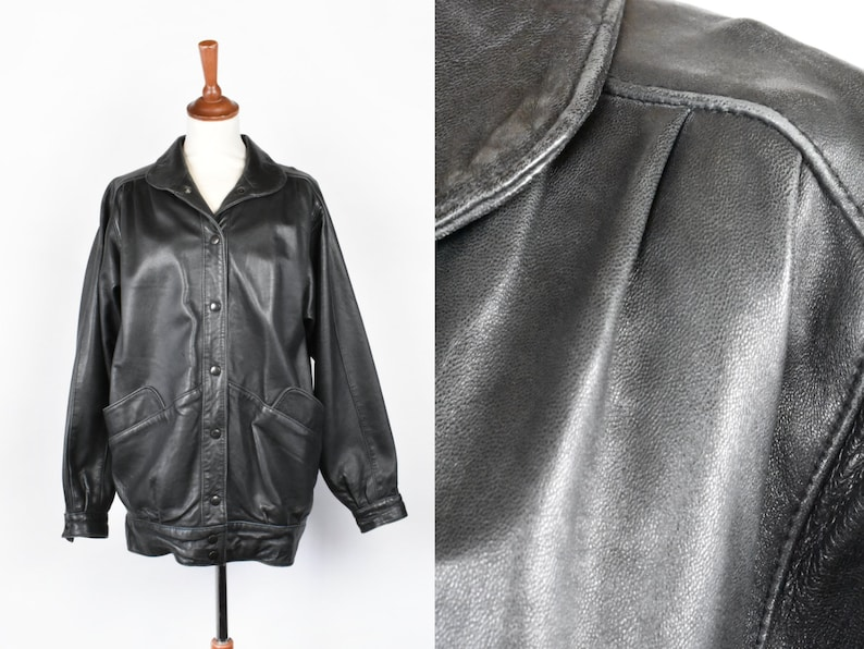 moderate cost 2019 real new lifestyle Soft Oversized Black Leather Jacket with Cute Shoulder Pleats, Size Small
