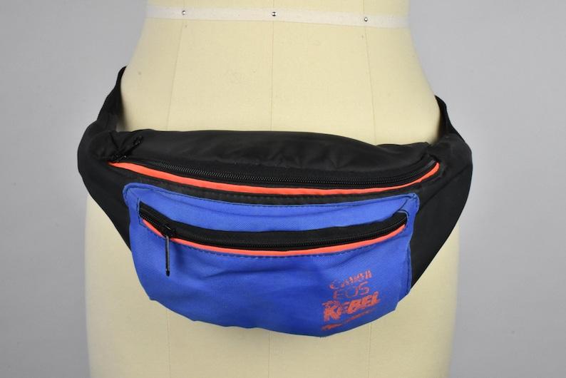 Canon EOS Rebel Black and Blue Nylon 2-Pocket Fanny Pack with Adjustable Nylon Strap