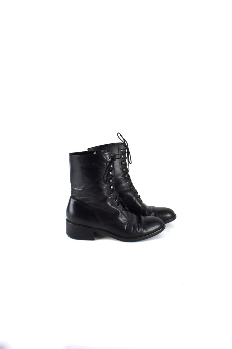 3d441c1d724fc Black Lacer Ankle Boots with Chunky Heel by Flings, Size 9 M