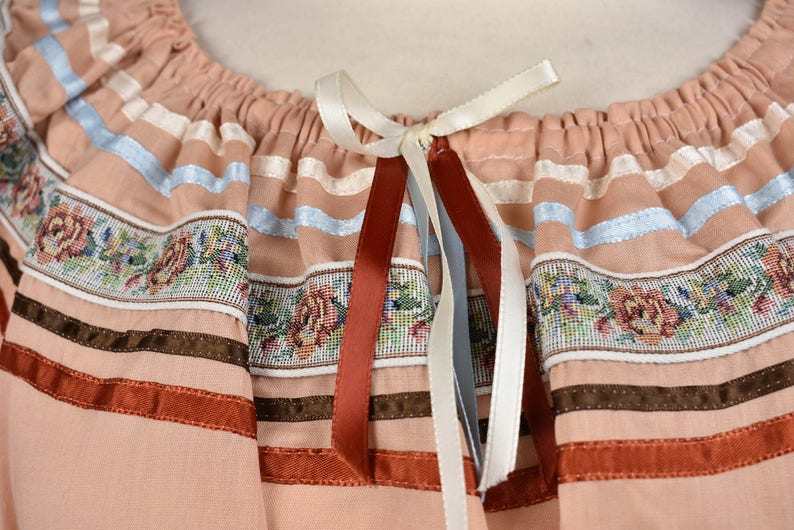 Dusty Peach Fiesta Dress with Floral Ribbon Top and Skirt Combo