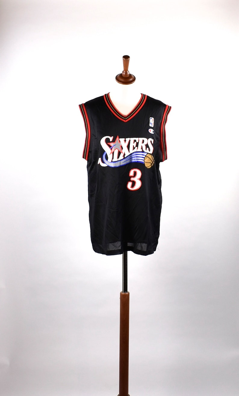 buy online 69ad2 e3720 Philadelphia 76ers Allen Iverson Basketball Jersey by Champion // Size Large