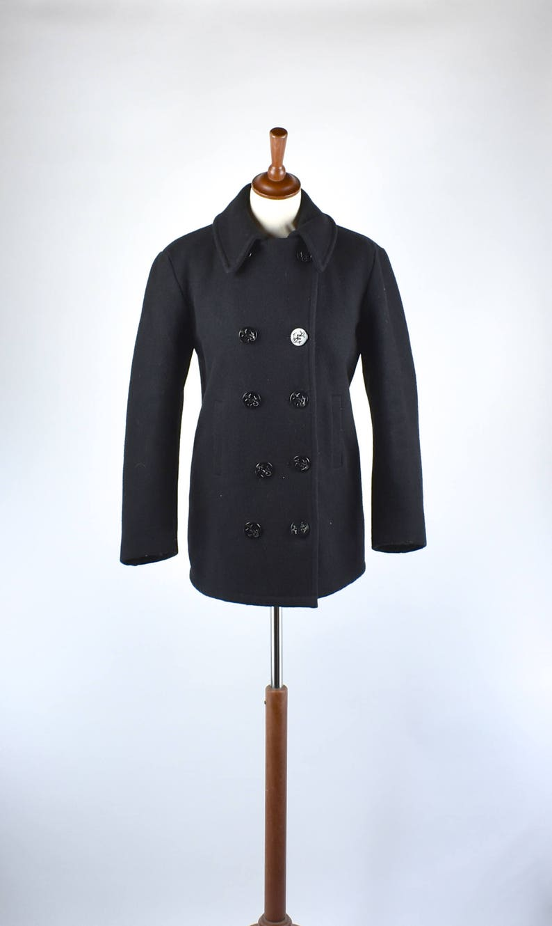8dd3407df6e5f6 Black Naval Pea Coat by Naval Clothing Depot Size 32