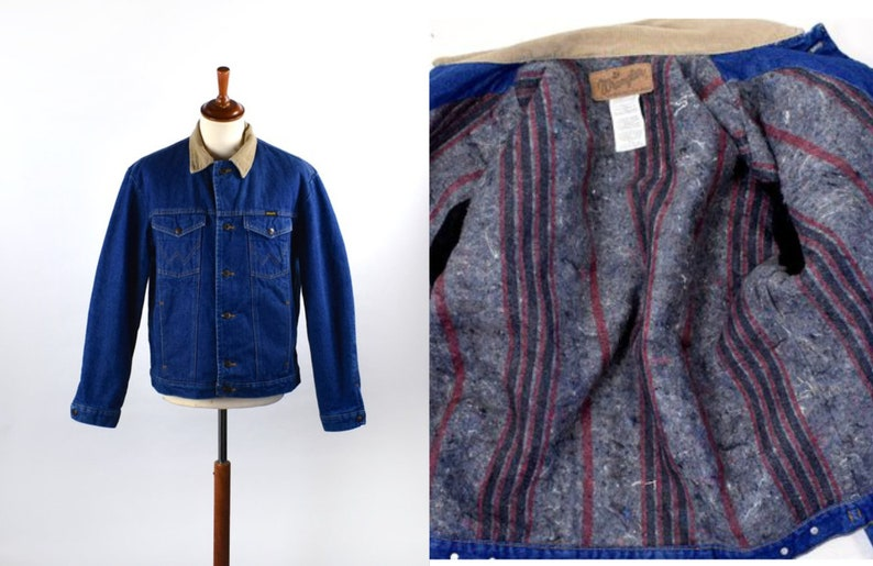 ff9b0f59d Blanket Lined Denim Jacket with Corduroy Collar by Wrangler | Etsy