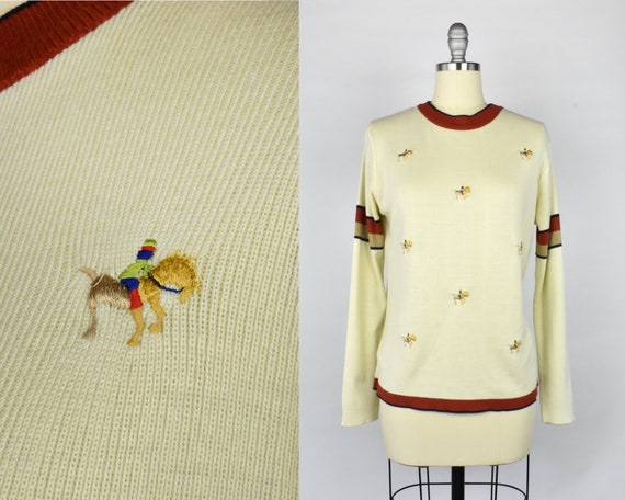 Embroidered Horse & Rider Sweater