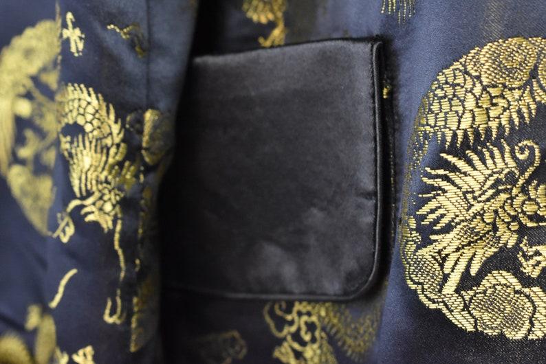 Black Satin Asian Robe with Gold Dragon Fabric