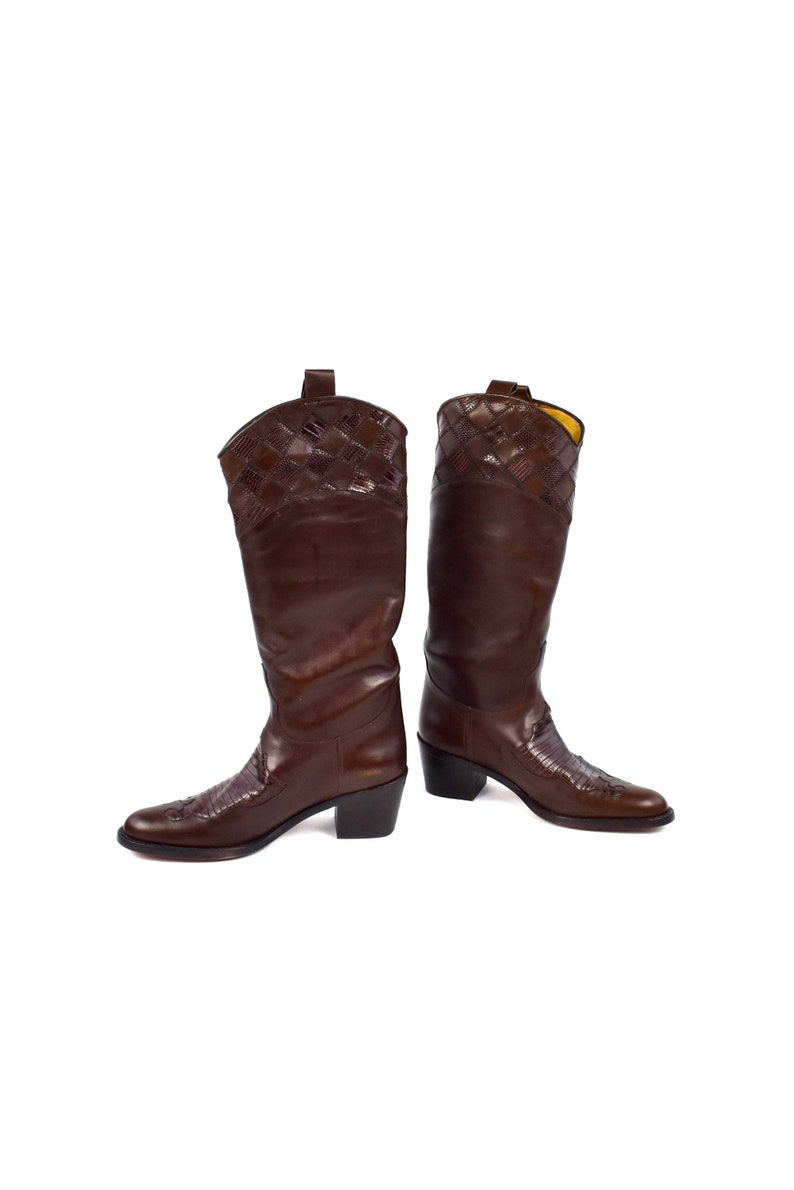 29269ec2d53 High End Lucchese Equestrian Boots with Quilted Leather and   Etsy