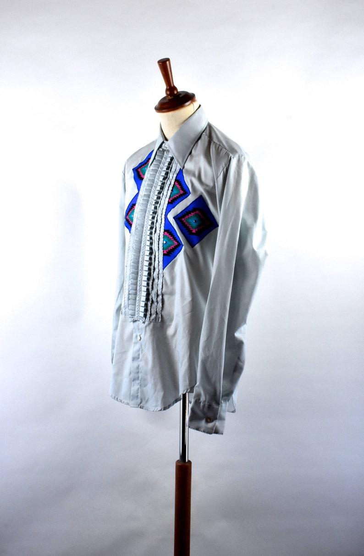 Vintage Tuxedo Shirt with Wild Southwestern Style Pattern on FrontBack