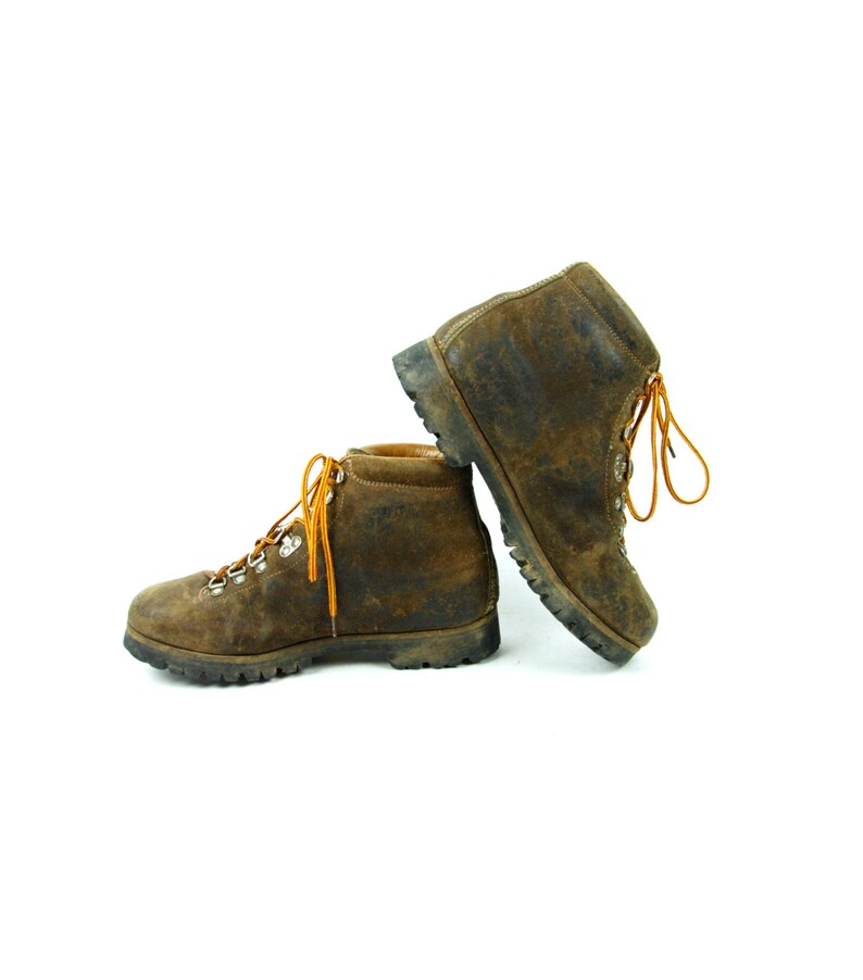 1a664cef00d 1976 Pivetta for DMC Mountaineering Boots with Vibram Sole, Made in Italy,  Brown Leather Hiking Boots