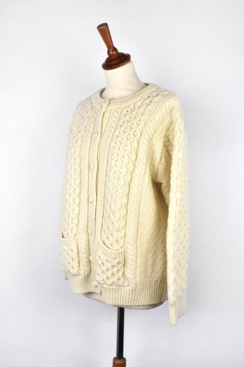 Made in Ireland Cable Knit Merino Wool Cardigan Fisherman Cardigan