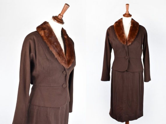 1940's-50's Chocolate Brown Skirt and Blazer with Fur Collar    Marie Antionette Blazer and Skirt Suit with Fur Collar