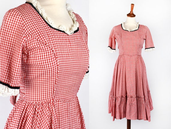 Red & White Gingham Dress with Eyelet Trim and Bla