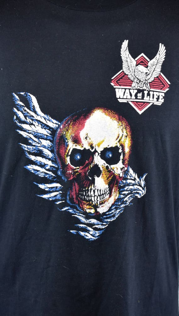 1970 ' s RARE Winged Skull collection Harley Davidson Harley T-Shirt, Harley Davidson Davidson A mode de vie, taille Large, 50/50 Polyester/coton d07470