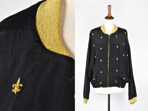 Fleur de Lys Bomber, Black & Gold Jacket, Made in USA