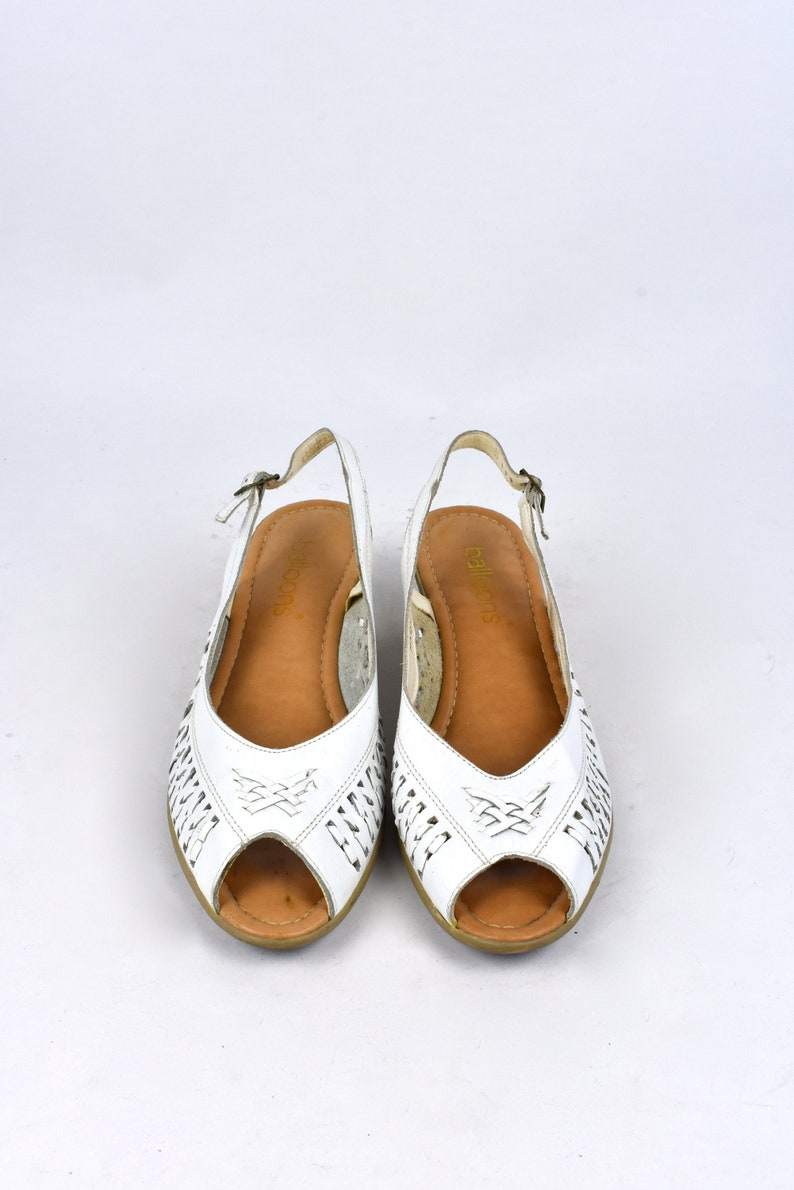 9d209c06ec1bc Open Toe Slingbacks with Heel by Balloons, Size 10 B // Open Toe Sandals //  Slingback Sandals