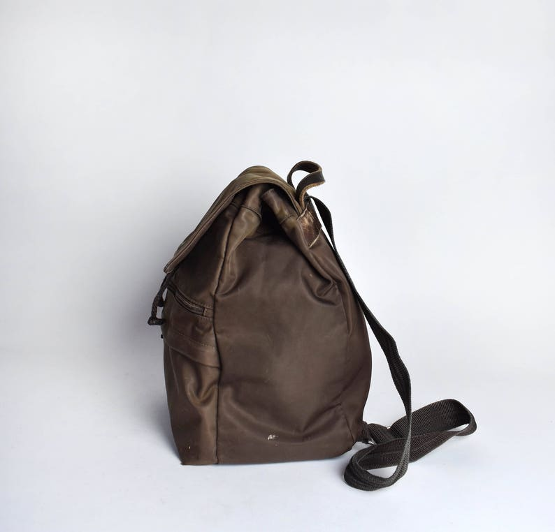 Brown Nylon /& Leather Eddie Bauer Backpack Purse Shoulder Bag