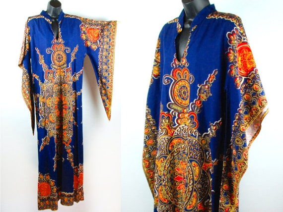 1970's Indian Style Caftan with Kimono Sleeve, Hip