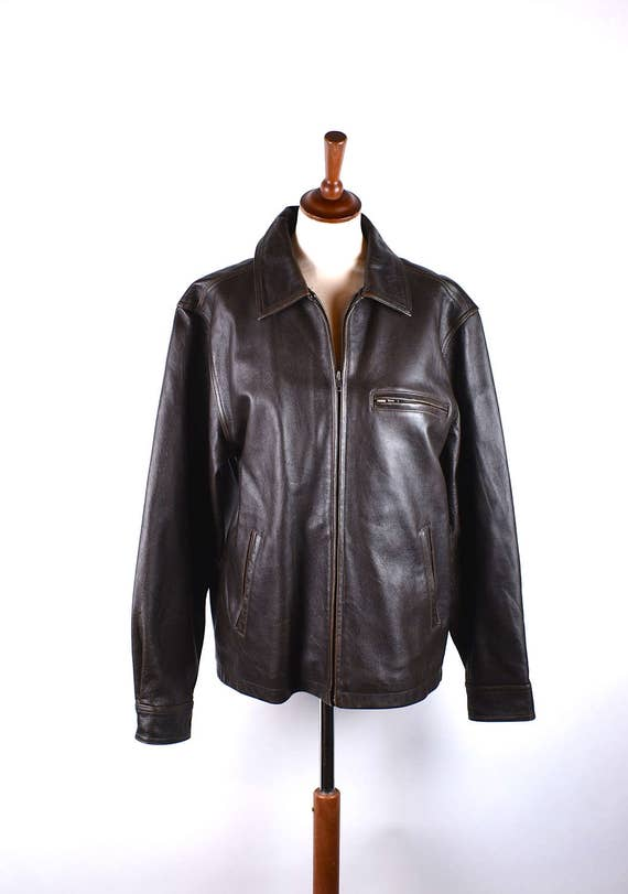4cfc89bce184 Brown leather bomber jacket cherokee size medium etsy jpg 570x811 Cherokee  leather jacket