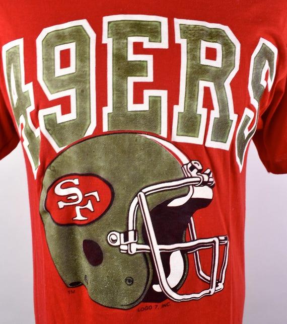 1980 ' s logo San Francisco 49ers T-shirt logo s 7, grande taille 87077c