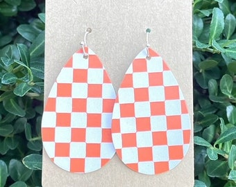 Orange and White Earrings, Tennessee Vols Earrings, Tennessee Checkerboard Earrings, Football Earrings, Ladies Earrings, Leather Earrings