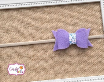 Lavender Headband, Felt Bow Headband, Toddler Headband, Purple Baby Headband, Glitter Headband, Nylon Headband, Newborn Headband, Baby Bows