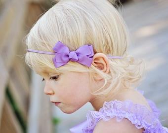 Lavender Bow Headband, Baby Headband, Newborn Headband, Lavender Baby Bow Headband, Purple Bow Headband, Photo Prop, FREE SHIPPING PROMO