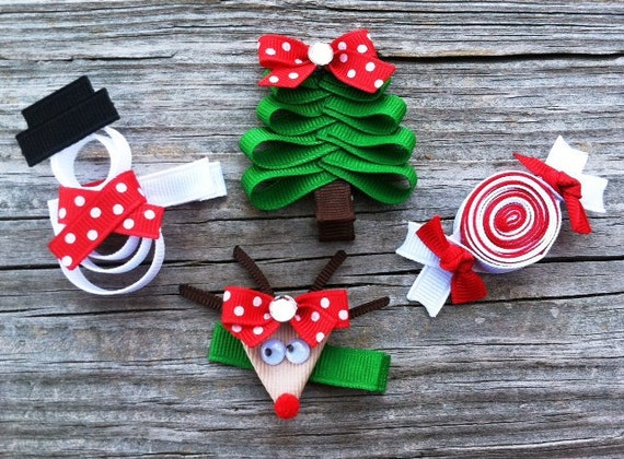 Christmas Hair Clips.Christmas Hair Clip Set Holiday Hair Clip Set Christmas Tree Hair Clip Girls Holiday Hair Clips Christmas Hair Bows Reindeer Hair Clip