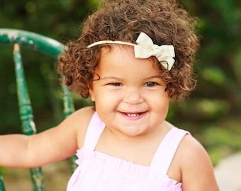 Ivory Headband, Ivory Baby Bow Headband, Ivory Bow Headband, Cream Headband, Baby Headband, Toddler Headband, Newborn Headband
