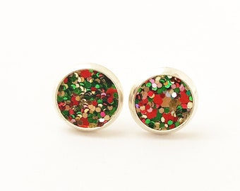 Red and Green Glitter Earrings, Ladies Stud Earrings, Holiday Earrings, Christmas Earrings, Stud Earrings, Christmas Jewelry, Glitter Studs
