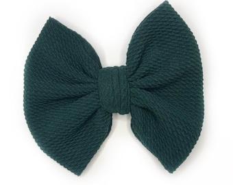Hunter Green Bow, Dark Green Hair Bow, Girls Fabric Bows, Fabric Hair Bows, Forest Green Bow, Toddler Bow, Hunter Green Hair Bow, Green Bow