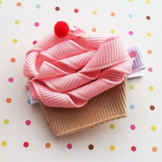 "NEW /""PINK CUPCAKE/"" Hairbow Alligator Clip Girls Ribbon Sculpture Bows Birthday"