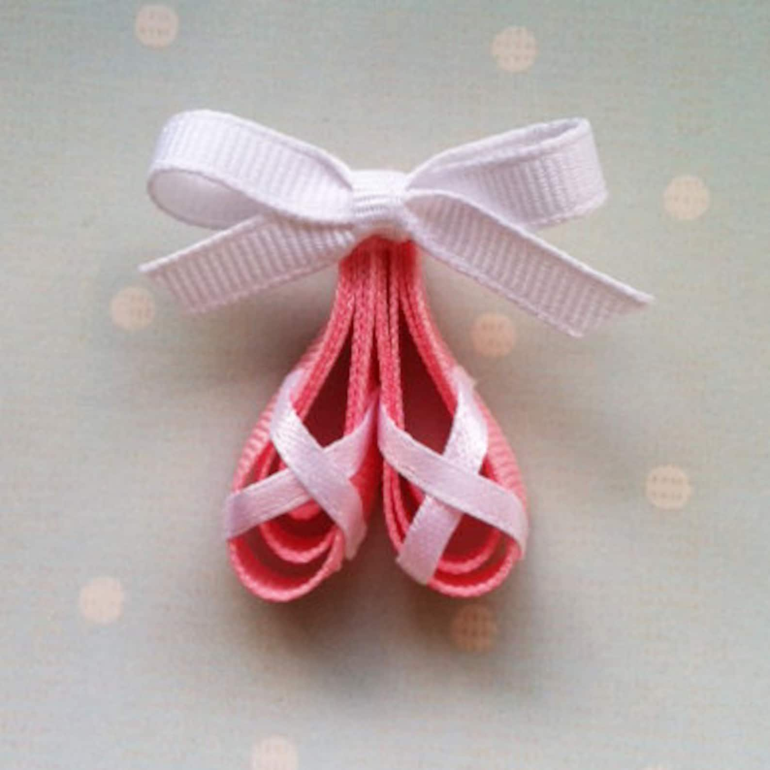 pink ballerina slippers ribbon sculpture hair clip, ballet shoes hair clip, dance hair clip, ballerina slippers hair clip, free