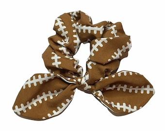 Football Scrunchie, Football Hair Elastic, Knotted Bow Scrunchies, Football Print Hair Elastic, Ladies Scrunchies, Fabric Scrunchies