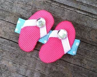 Flip Flops Hair Clip, Summer Hair Bows, Hot Pink Flip Flops Ribbon Hair Clip, Beach Hair Clip, Pool Party Favor, Toddler Hair Clip