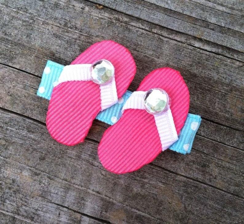 abaf3c94b Flip Flops Hair Clip Summer Hair Bows Hot Pink Flip Flops