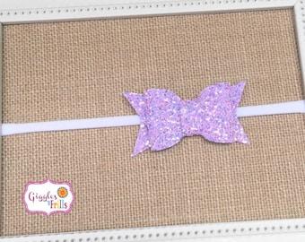 Lavender Glitter Bow Headband, Glitter Headbands, Nylon Headband, Lilac Bow Headband, Baby Bow Headband, Glitter Baby Headband