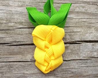 Pineapple Hair Clip, Yellow Pineapple Ribbon Hair Clip, Summer Hair Clip, Hawaiian Hair Clip, Tropical Hair Bow, Beach Hair Clip, Luau Clip