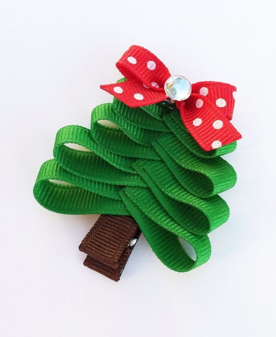 Christmas Tree Hair Clip Christmas Tree Hair Bow Red And