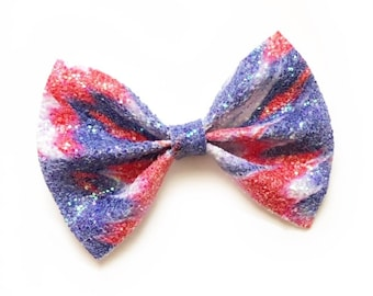 Patriotic Tie Dye Bow, Red White and Blue Bow, July 4th Hair Bow, Sparkly Patriotic Bow, Glitter Bows, Independence Day Bow, 4th of July Bow