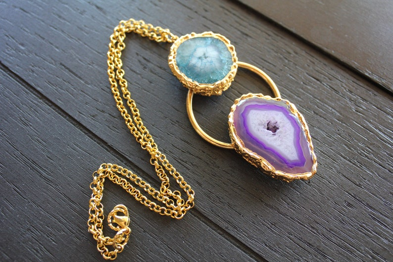 Electroformed Necklace Electroformed Jewelry Solar Quartz Necklace Druzy Necklace Druzy Jewelry Gold Druzy Necklace Geode Necklace Boho